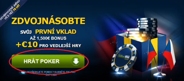 Online pokerová herna Will Hill Poker - registrace 1