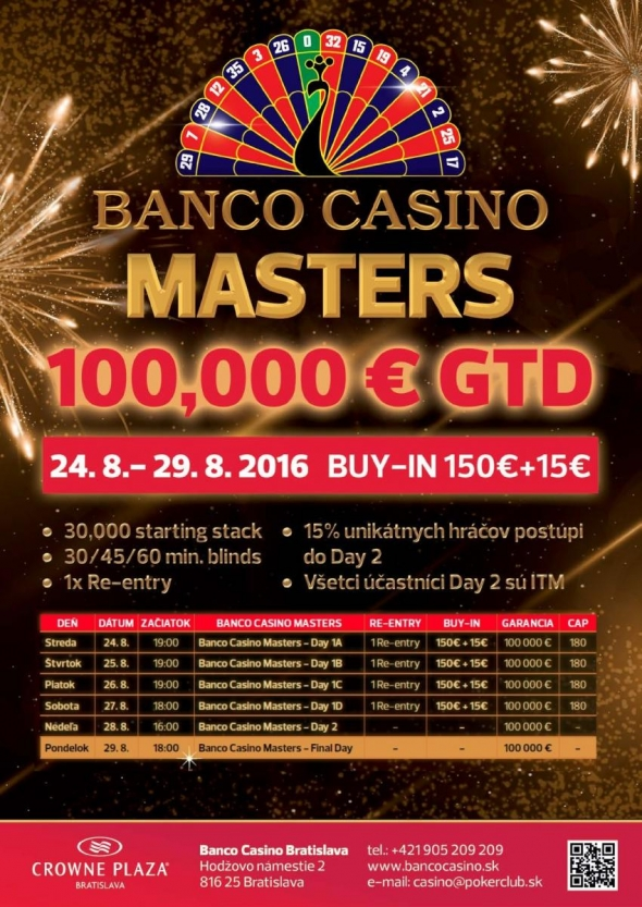 Program srpnového Banco Casino Masters o €100,000