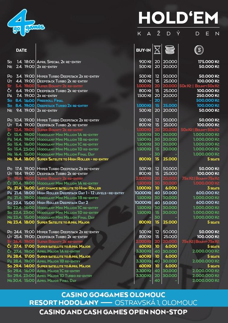 Turnajová program Go4Games Hodolany na duben 2017