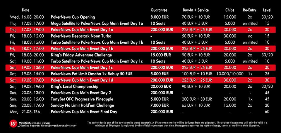 Program PokerNews Cup 2017