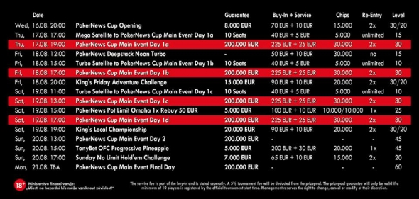 Program PokerNews Cup 2017