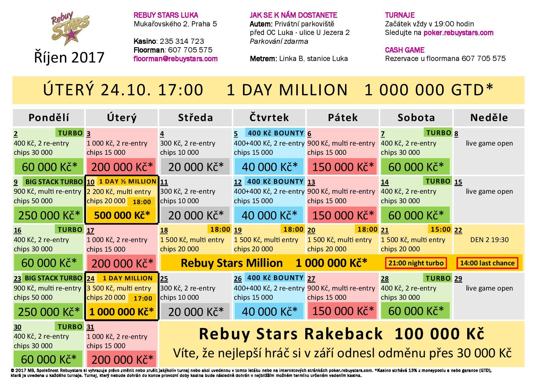 Říjnové turnaje v Rebuy Stars Luka