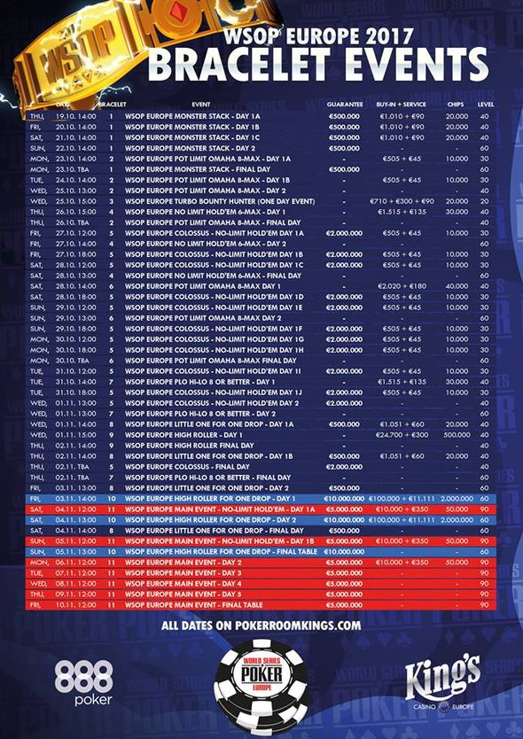 Program WSOP Europe v King's Casinu