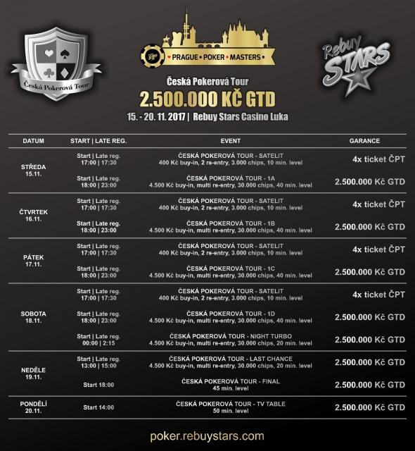 Program listopadové České Pokerové Tour v Rebuy Stars