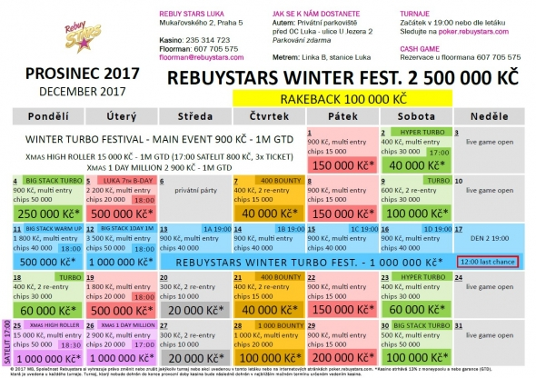 Prosincové turnaje v Rebuy Stars Luka