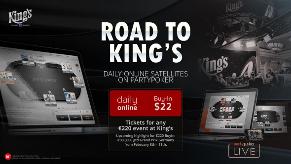 Road to King's na Party Pokeru o €220 tickety do King's Casina
