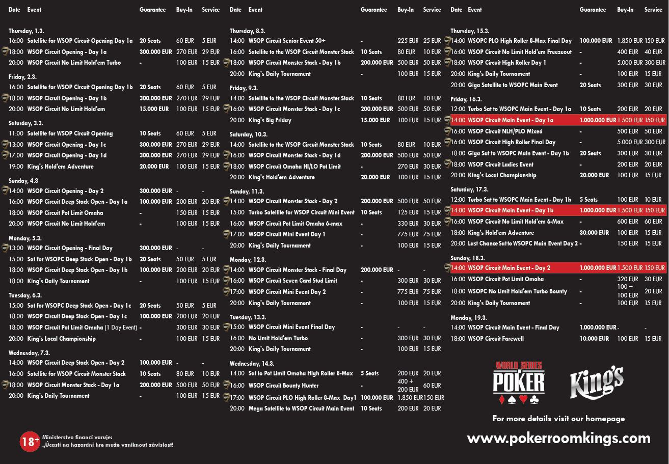 Program World Series of Poker Circuit Rozvadov - Spring Festival 2018