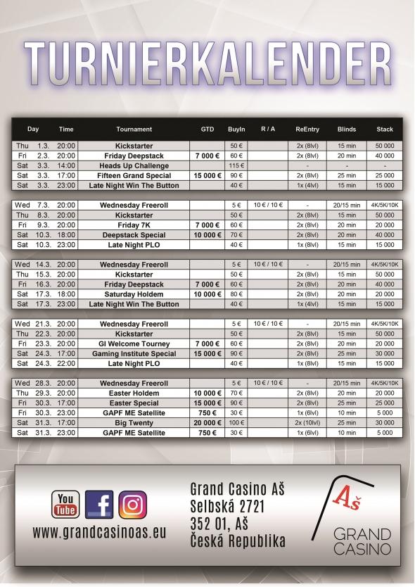 Turnaje v Grand Casinu Aš - březen 2018