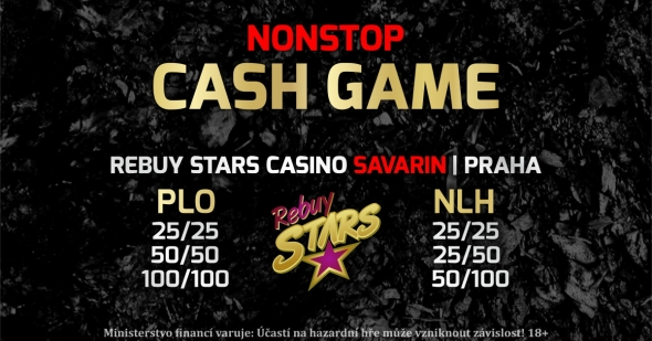Nonstop cash game v RS Savarin s rakebackem 250 000 Kč