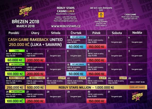 Březnové turnaje v Rebuy Stars Luka