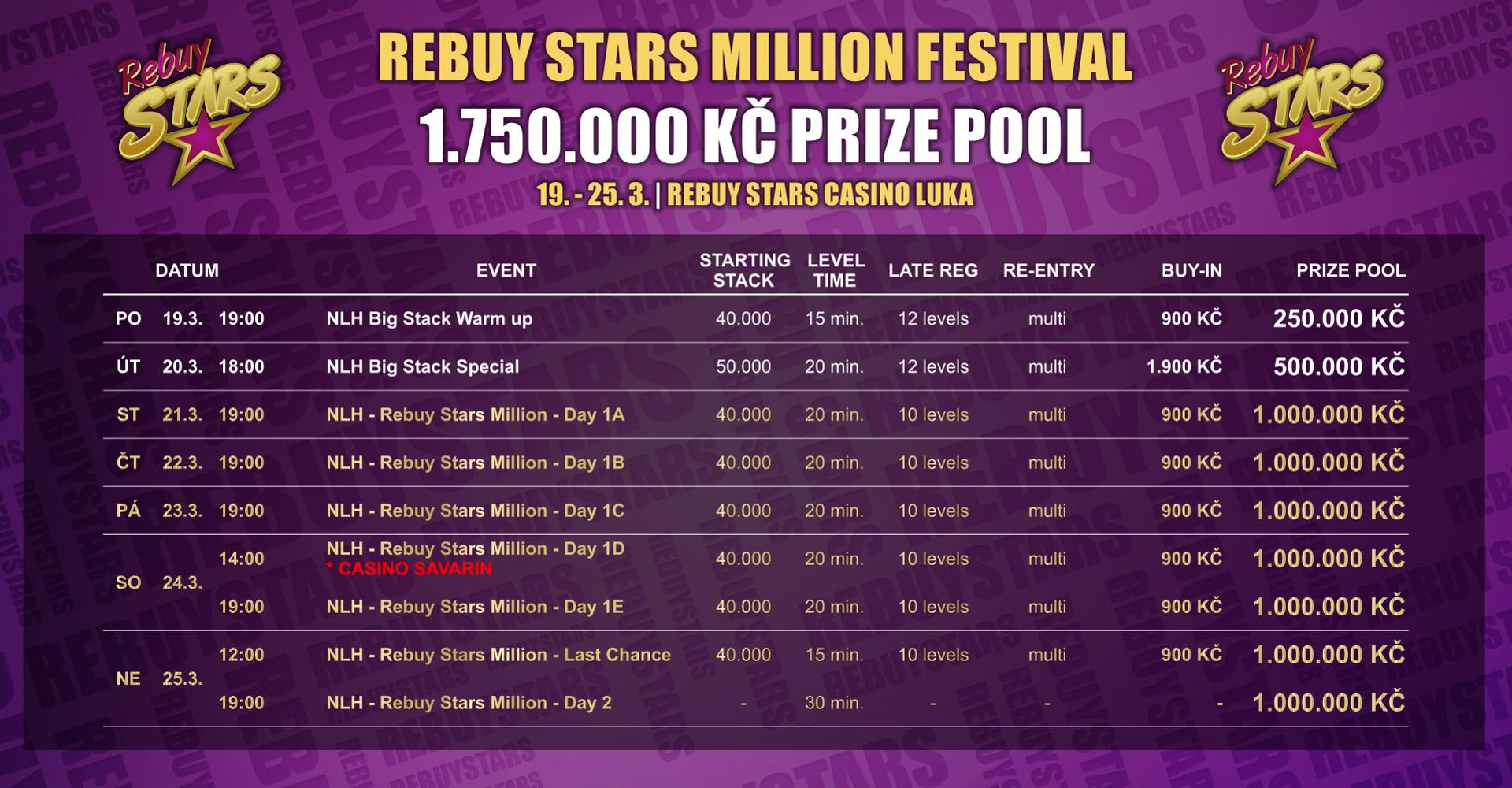 Rozpis turnajů březnového Rebuy Stars Million festivalu