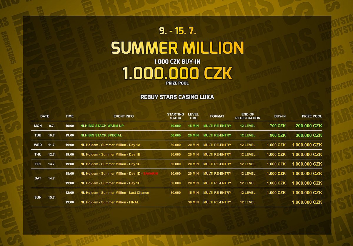 Program Summer Million v Rebuy Stars Luka