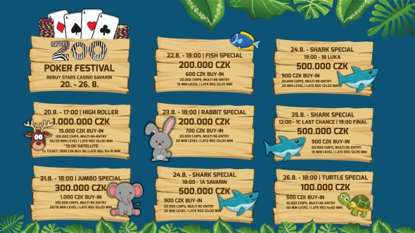 Program Zoo Poker Festivalu v kasinu Savarin