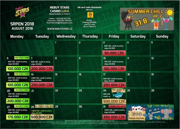 Srpnové turnaje v Rebuy Stars Luka