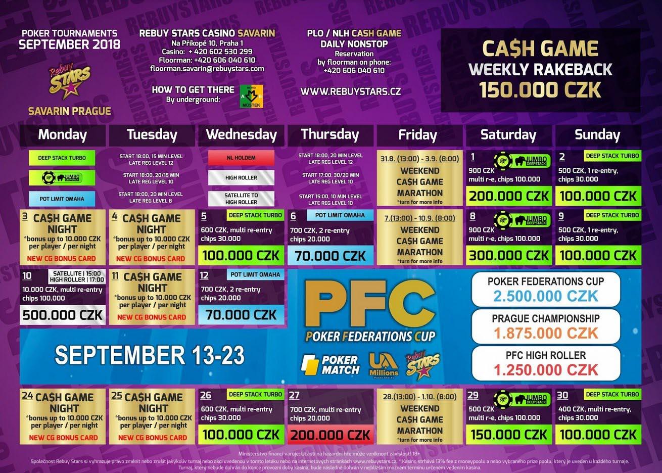 Zářijové turnaje v Rebuy Stars Savarin