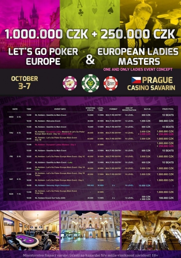 Program Let's Go Poker Europe + Europen Ladies Masters