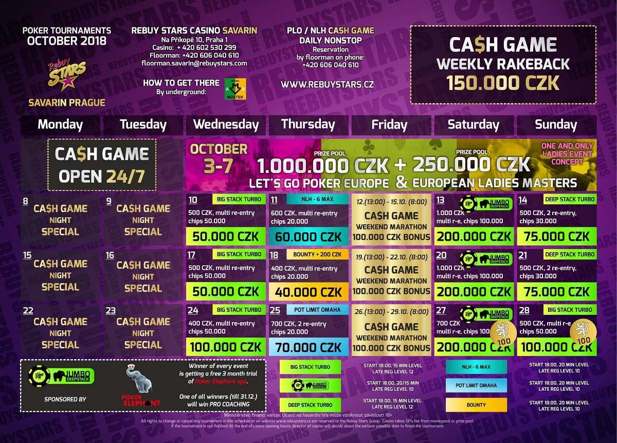 Říjnové turnaje v Rebuy Stars Savarin