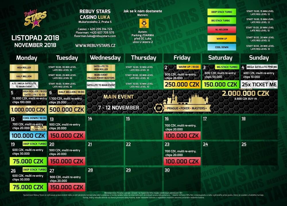 Listopadové turnaje vRebuy Stars Luka