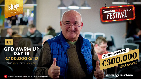 Warm Up German Poker Days o €100,000 pokračuje druhým flightem