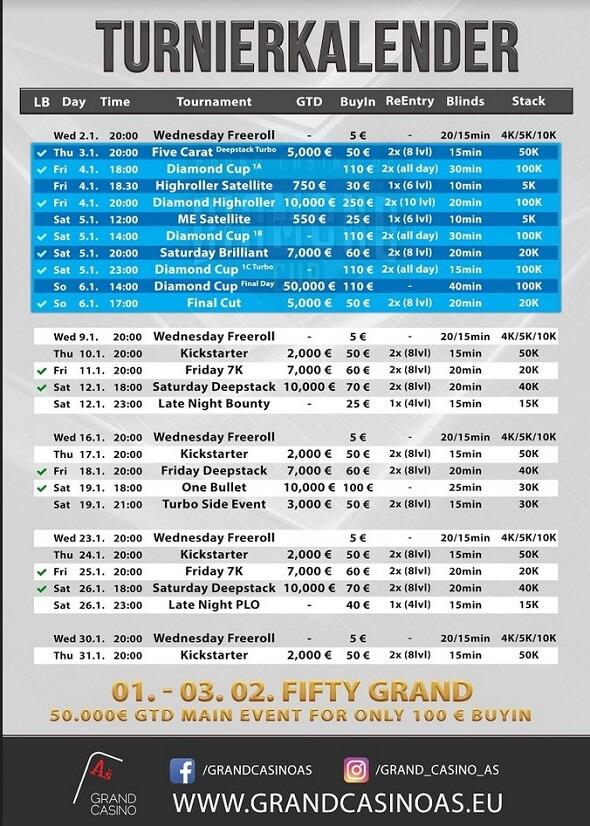 Grand Casino Aš – turnaje leden 2019