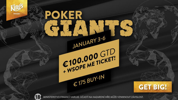 V Main Eventu Poker Giants se hraje o nejméně €100,000 v prize poolu, ale také o ticket do €10,300 Main Eventu WSOP Europe