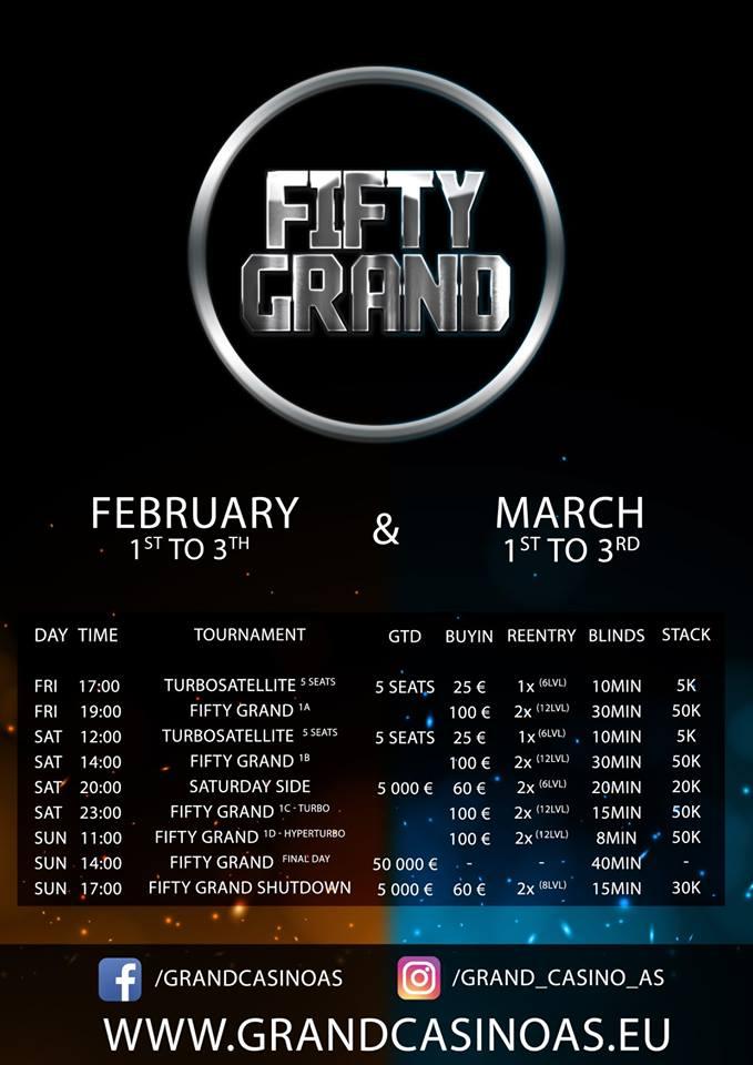 Program únorového abřeznového Fifty Grand