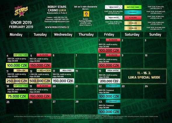 Únorové turnaje v Rebuy Stars Luka
