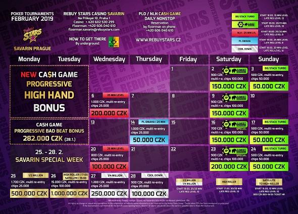 Únorové turnaje v Rebuy Stars Savarin