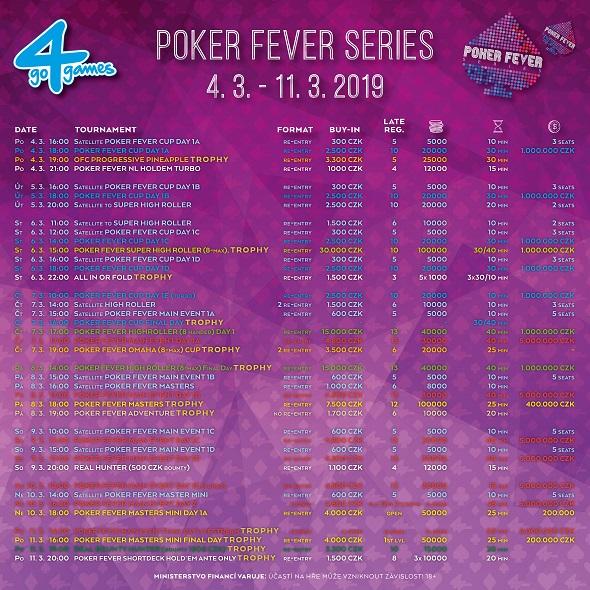 Nabídka turnajů jarní Poker Fever Series v Go4Games Hodolany