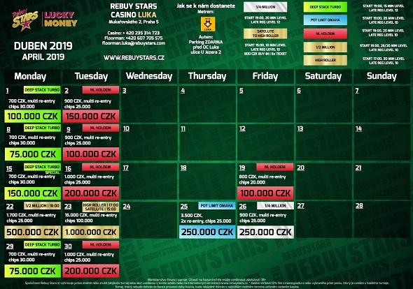 Dubnové turnaje v Rebuy Stars Luka