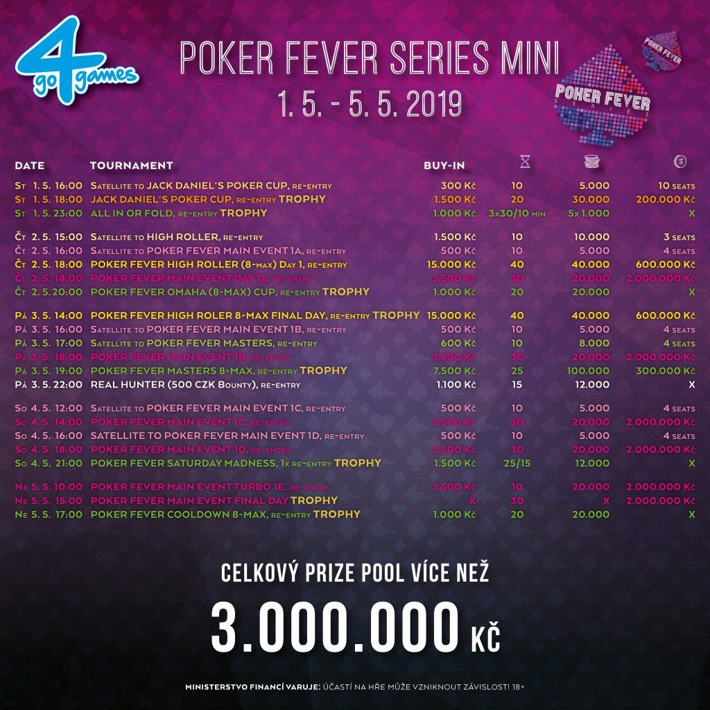Kompletní program turnajů Poker Fever Series Mini - květen 2019