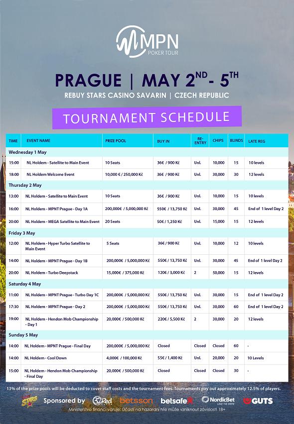 Rozpis turnajů květnové MPN Poker Tour ovíce než 6000000Kč