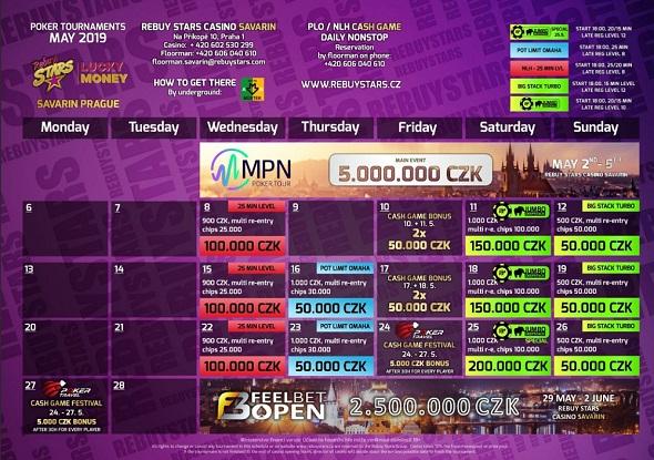 Rebuy Stars Casino Savarin – turnaje květen 2019