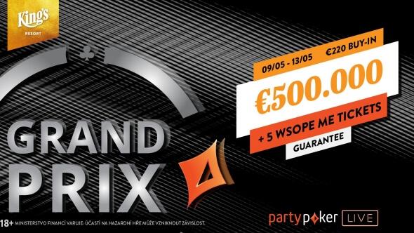 Partypoker Grand Prix garantuje €551,750, hraje se i online