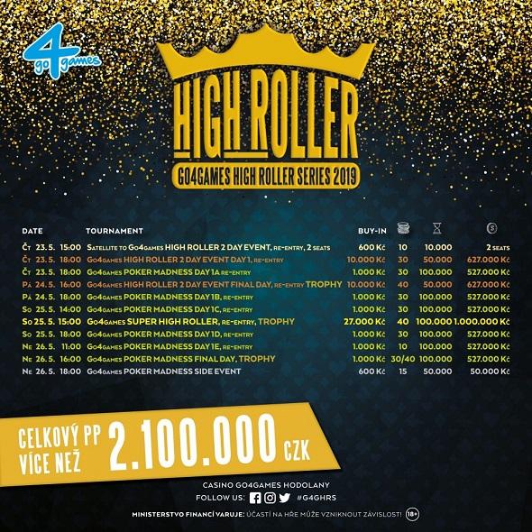 Rozpis turnajů květnové High Roller Series o více než 2 200 000 Kč