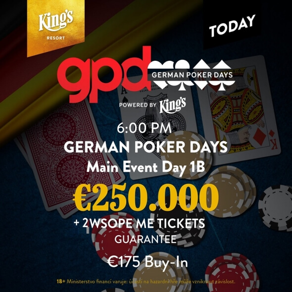 Druhý flight German Poker Days je na programu dnes od šesti