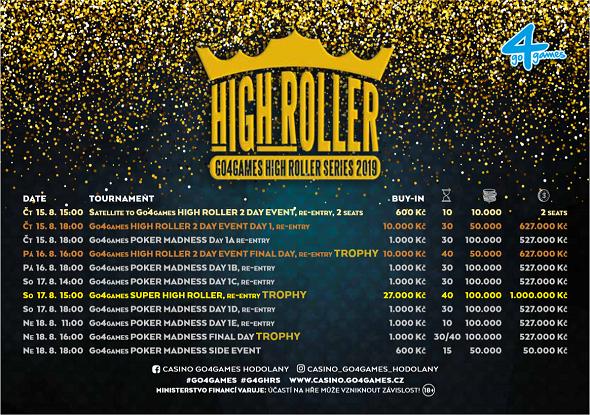 Rozpis turnajů srpnové High Roller Series o více než 2 200 000 Kč