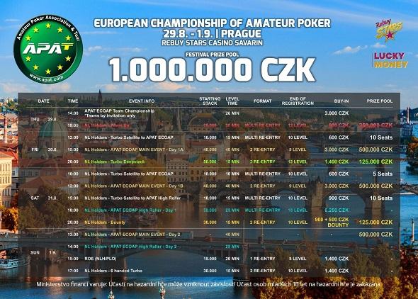 Rozpis turnajů srpnové zastávky European Championship of Amateur Poker