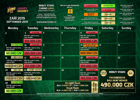 Zářijové turnaje v Rebuy Stars Luka