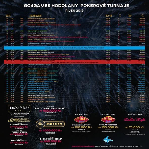 Říjnové turnaje v Go4Games Casino Olomouc - herna Hodolany