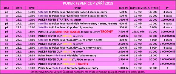 Program Poker Fever Cup září 2019