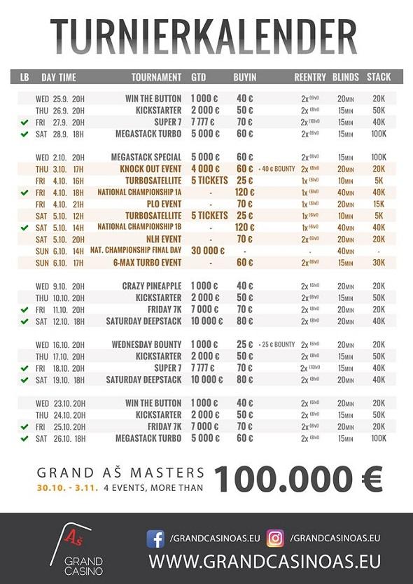 Grand Casino Aš - turnaje v říjnu 2019