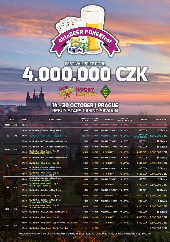 Rozpis turnajů Oktobeer Pokerfestu v Rebuy Stars Savarin