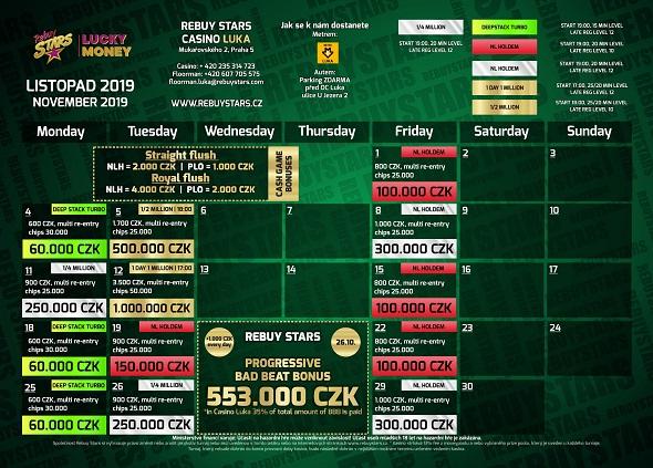 Listopadové turnaje v Rebuy Stars Luka