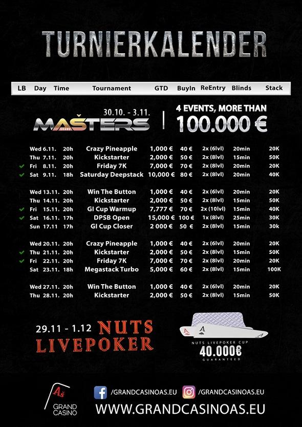 Grand Casino Aš – turnaje listopad 2019