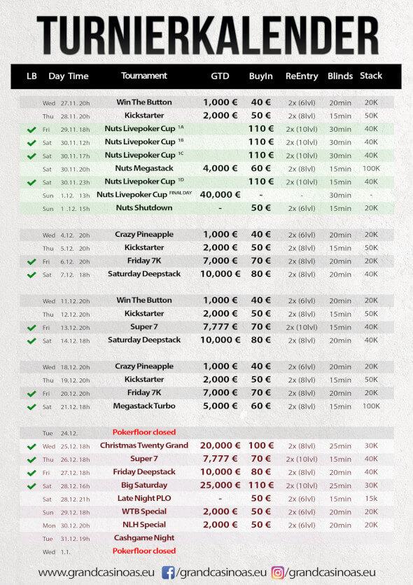 Grand Casino Aš - turnajový program na prosinec 2019