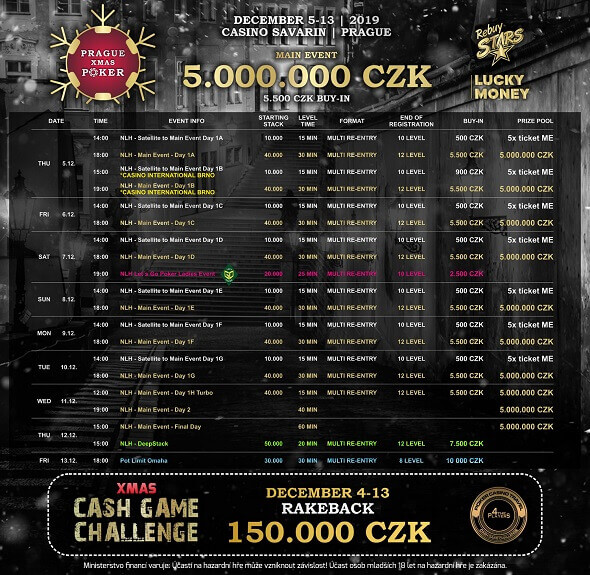 Program Prague Xmas Poker v Rebuy Stars Savarin
