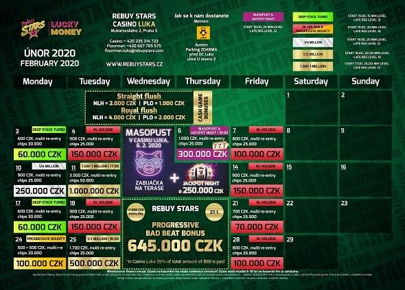Rebuy Stars Casino Luka – turnaje únor 2020