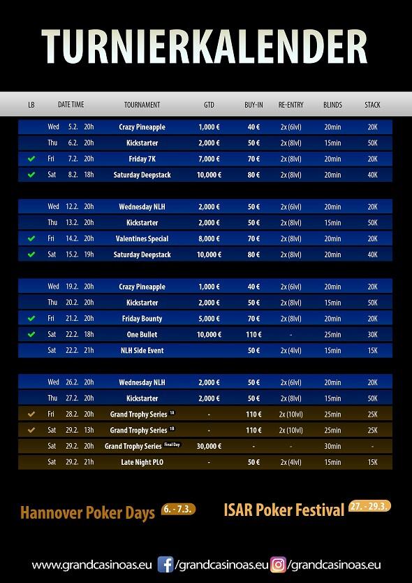 Grand Casino Aš – turnaje únor 2020