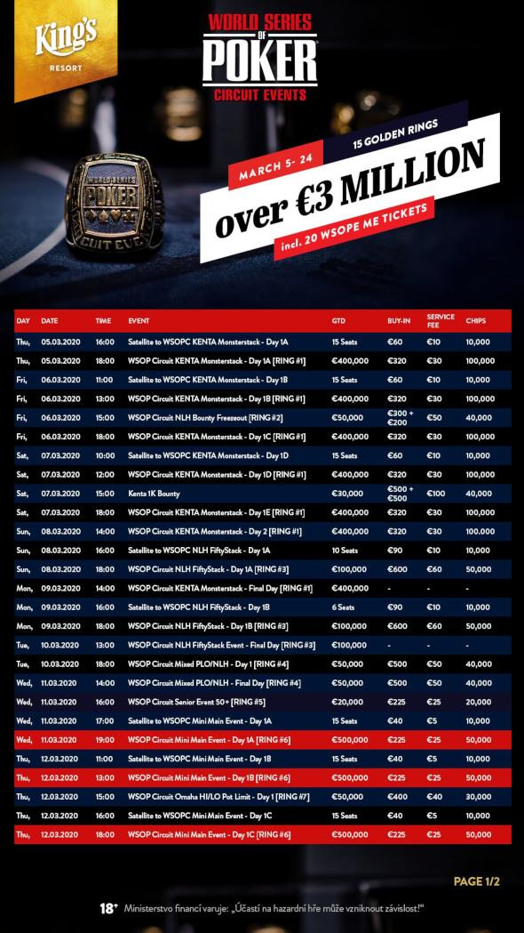 Program jarního WSOP Circuit v King's - 1